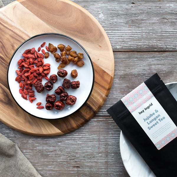 Jujube & Longan Sweet Tea at your fully stocked Postpartum Pantry. A calming brew of longans, red dates and goji berries. In some cultures, postpartum mummies drink this instead of water... for 28 days straight. That's some serious relaxation.  www.heyingrid.com