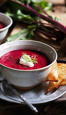 Roasted beetroot soup with crispy wonton chips