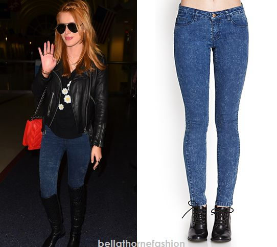 Bella Thorne wears these Blue Forever 21 Acid Wash Skinny Jeans at ABC Studios in New York City on December 3rd 2014.
