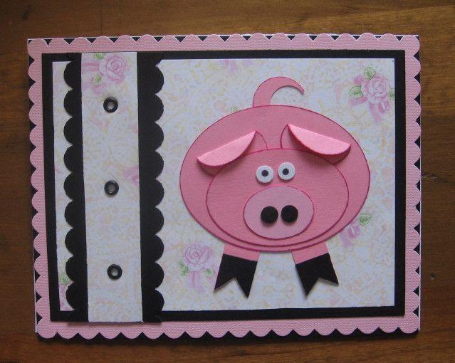 открытка на новый год своими руками из бумаги с детьми свинья собрать классическую