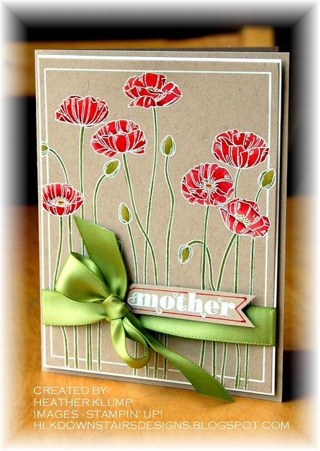 Downstairs Designs: Pleasant Poppies - I like the white line drawn with white gel pen which makes it appear to be another layer but isn't!  Clever!