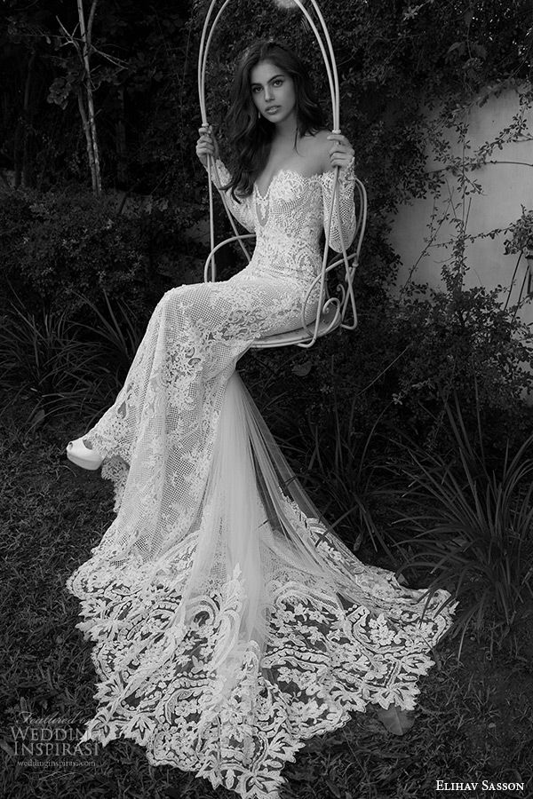 elihav sasson wedding dress 2015 off the shoulder long sleeves plunging neckline sexy lace sheath bridal gown