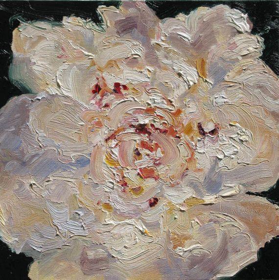 Scegli Me, peonia, un originale 8x8 dipinto ad olio su cartone telato da Yvonne Wagner. Peonia. Fiore. Fiore rosa. Peonie. Pittura di peonia.