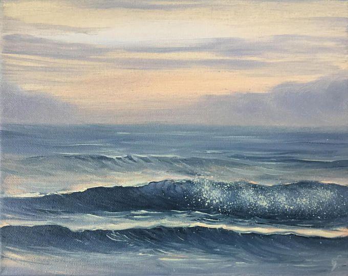 Sunrise Painting Surf Art Beach Coastal Landscape Ocean Sunrise Art Original Oil Painting On Canvas Seascape At Sunrise