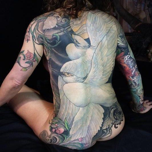 #Tattoo by @gogueart (Jeff Gogue) - two egrets back piece ever evolving. Jeff…