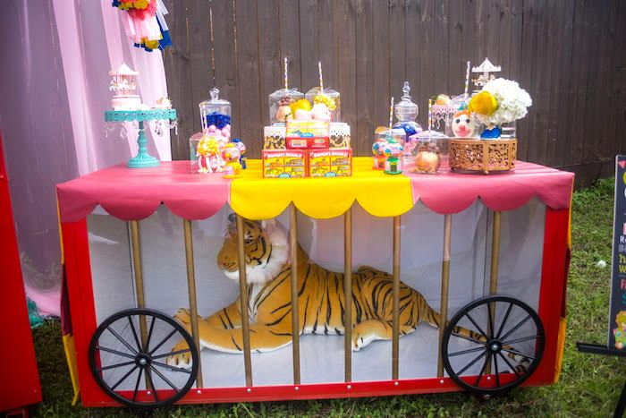 Tiger cage dessert table from a Backyard Carnival Birthday Party on Kara's Party Ideas | KarasPartyIdeas.com (20)