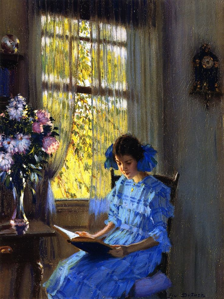 Margaret by the Window (1915).Edward Dufner (American, 1872-1957).Private collection. Oil on canvas.