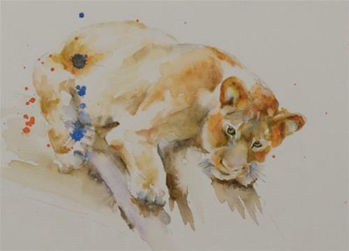 "Daily Paintworks - ""Sketch Series #7 (lion cub)"" - Original Fine Art for Sale - © Sue Churchgrant"