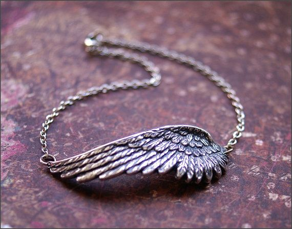Angel Wing Necklace BEAUTIFUL Detailed by RevelleRoseJewelry