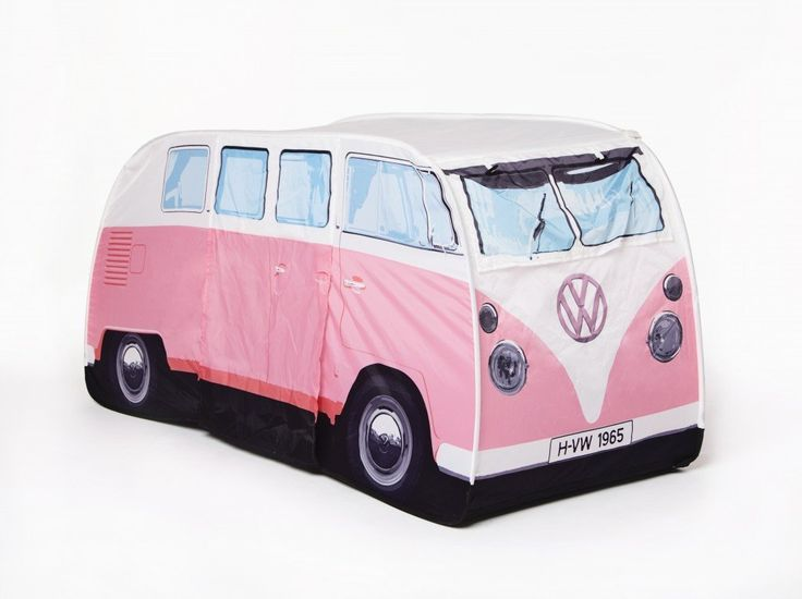 VW Volkswagen T1 Camper Van Kids Pop-Up Play Tent - Pink - Multiple Color Options Available. Not to be outdone by their full sized tent relatives, these new licensed T1 VW Camper Van Play Tents are just what every hip and happening kid needs. Perfect indoors and outdoors, these new mini-me versions of the iconic 1965 Split Screen VW Camper Van are too cool for school. INDOOR AND OUTDOOR USE: The tents are perfect for indoor and outdoor use. They provide UV Protection, and are waterproof....