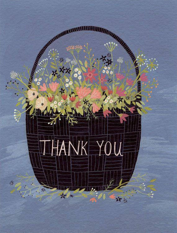 flower basket thank you card by ybryksenkova on Etsy