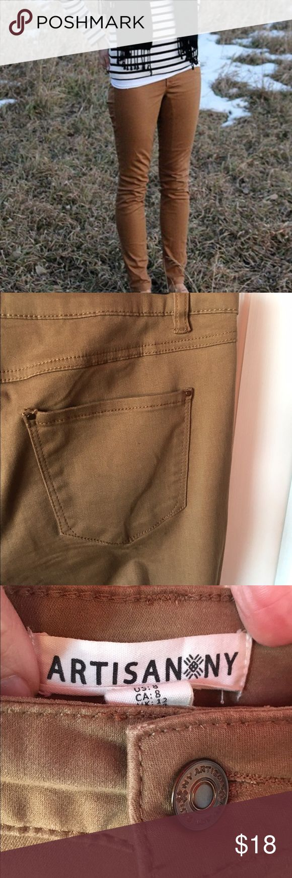 🎉HP🎉Brown jeans Artisan NY mid to high rise brown skinny jeans These jeans are super soft and stretchy made of 71% cotton, 27% viscose and 2% spandex. So comfortable on.   These jeans are between mid to high rise. I am 5'6 and the waist comes just below my belly button. Excellent condition. No flaws. Worn once! Artisan NY Jeans Skinny