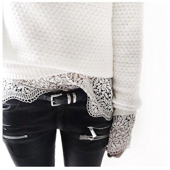 Un top en dentelle blanc à porter sous un pull : http://www.taaora.fr/blog/post/top-blanc-dentelle-ajouree-broderie-manches-longues #detail #mode