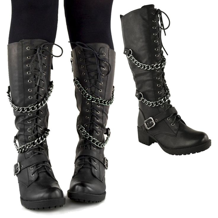 details about ladies womens knee high mid calf lace up