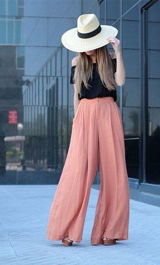 BLACK OFF SHOULDER TOP PAIRED WITH A SIMPLE PALAZZO..ADD A BIG HAT AND A WATCH....AND WALK CAREFREE... #SIMPLE #ELEGANT #CUTE