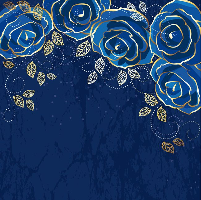 Navy Blue Vector Rose Gold Leaf Shading Gold Texture Background Flower Background Wallpaper Gold Wallpaper Background