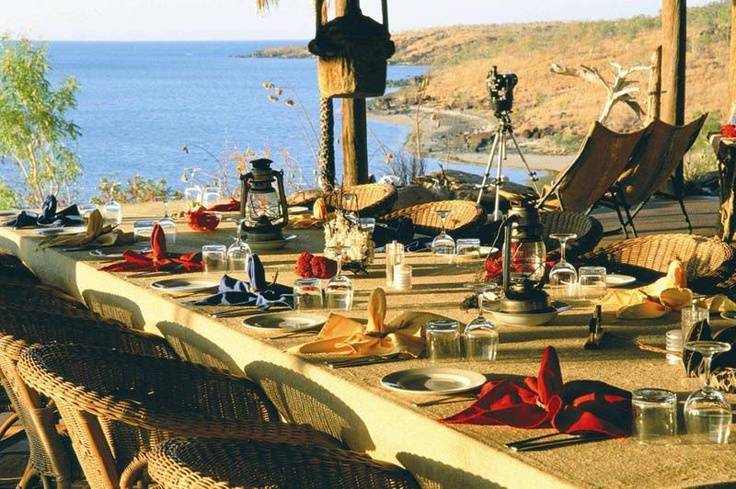 Faraway Bay – The Bush Camp    The Bush Camp Faraway Bay is an inviting haven, nestled on a rocky hilltop overlooking the turquoise Timor Sea, 280km North West of Kununurra in the remote, uncharted and spellbinding Kimberley Region of Western Australia.