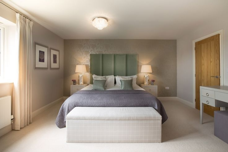 Clean lines and soft accents of lavender and sage make for a simple but striking guest bedroom in our latest Cotswold family home project. You can find more examples of our work at http://www.janeclayton.co.uk/design-service/