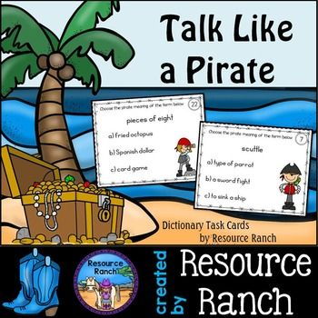 Talk Like a PiratePirate themed Task Cards for Dictionary Skill practice! (24 task cards in both color and line art, recording sheet, and answer key)This is a fun way to practice dictionary skills while celebrating Talk Like a Pirate Day, but can certainly be used any time of the year.