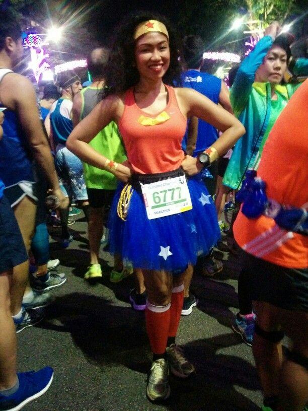 My DIY Wonder Woman costume for full marathon at #SCMS2015 Standard Chartered Marathon Singapore #wonderwoman #runningcostume #DIYcostume #tutu #wonderwomancostume #racecostume