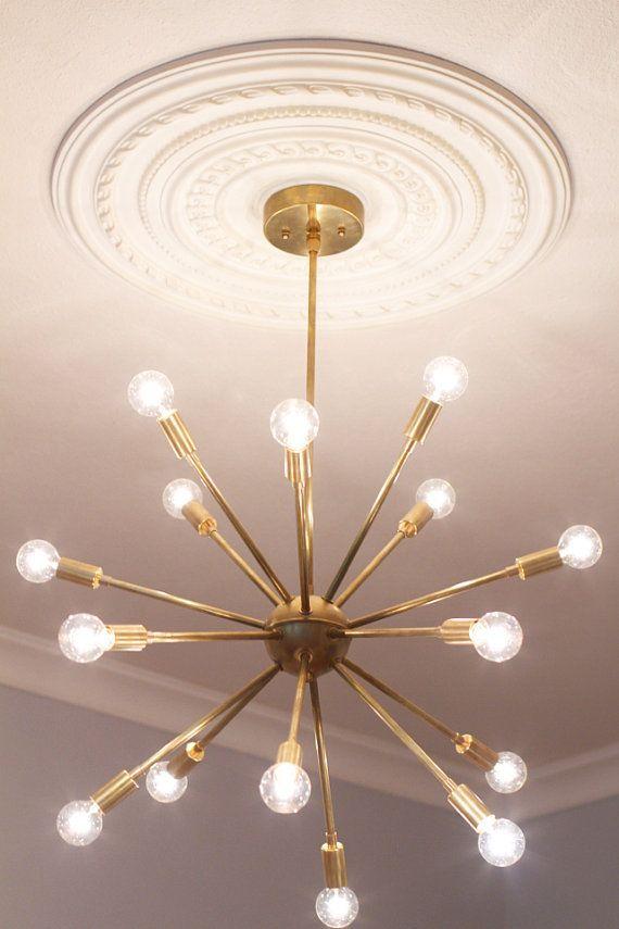 Mid Century Modern Round Sputnik Chandelier by LucentLightshop