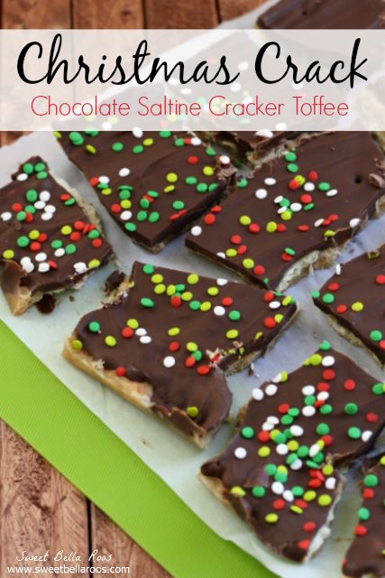 Christmas Crack aka Chocolate Saltine Cracker Toffee- this stuff is ridiculously easy to make and SO addicting! Perfect to gift or snack on ...