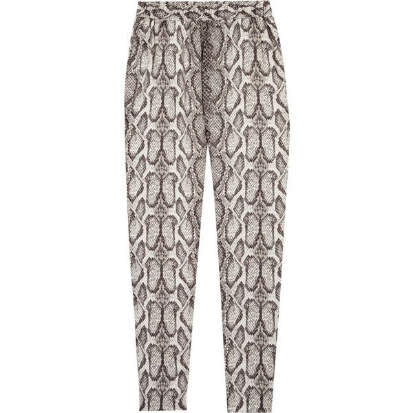 Helene Berman Snake-print satin pants (335 RON) ❤ liked on Polyvore featuring pants, bottoms, trousers, jeans, highwaist pants, elastic waistband pants, high waisted cropped pants, snake print pants and snakeskin pants