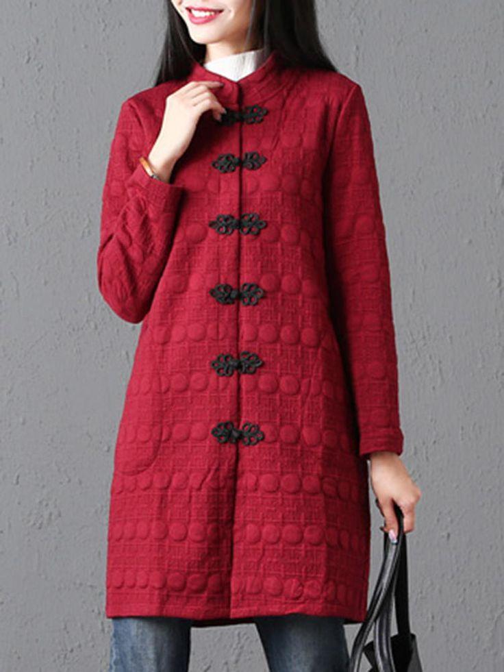 Vintage Frog Button Women Coat at Banggood  #women #fashion