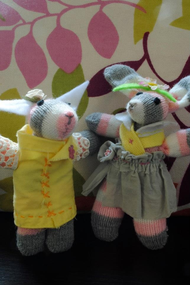 """Rita and Tita Rabbit. The twins. Handmade from a single glove! From my collection """"Love from a glove"""""""