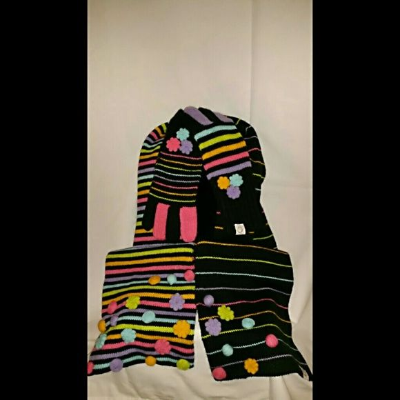 Little Miss Matched scarf and gloves NWOT. Never worn. Colorful mismatched scarf and gloves with appliqu?s. Little Miss Matched Accessories Scarves & Wraps