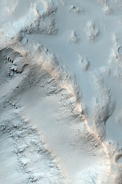 MRO image of the side of a crater on Mars.