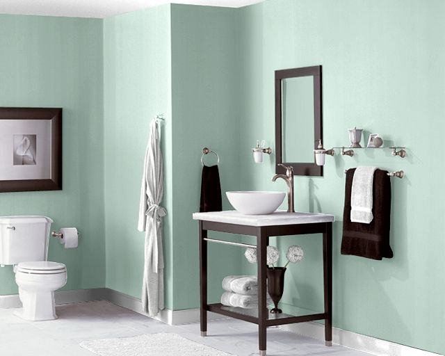 Peaceful green bathroom paint color recommended by encore for Bathroom finishes trends