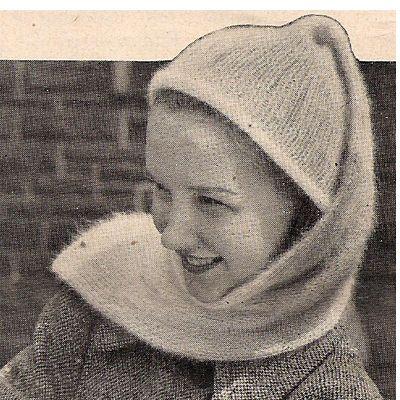 Vintage Stocking Tube Hat Scarf Knitting Pattern
