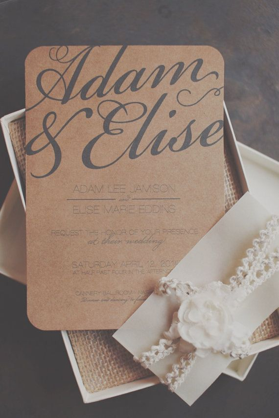 Rustic inspired printable wedding invitation with by