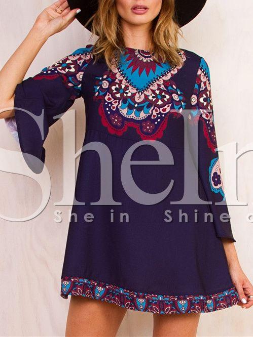 Purple Long Sleeve Vintage Print Dress 17.99