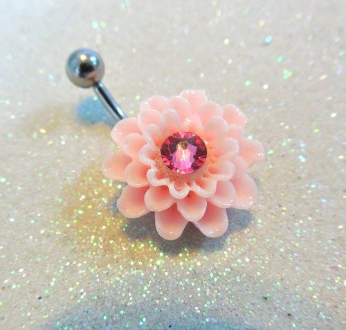 Cute belly button ring, pink dahlia flower bellybutton jewelry 14ga | YOUniqueDZigns - Jewelry on ArtFire
