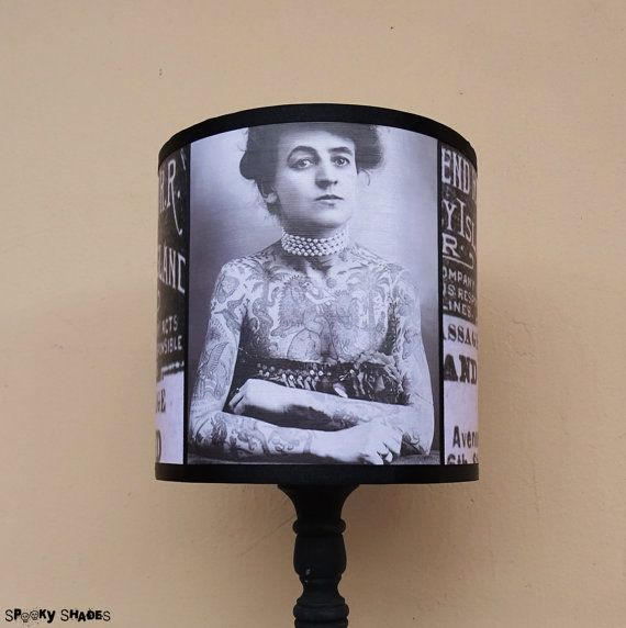 Vintage Tattoos Lampshade Lamp for sale at SpookyShades on Etsy