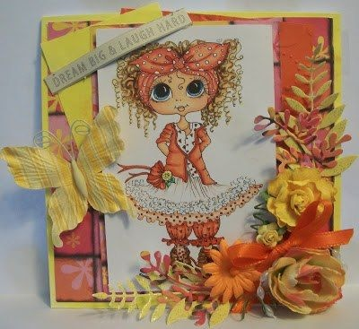 This is amazingly coloured. She is beautiful. Coloured by Deonna Query Bemish. Sherri Baldy Stamps