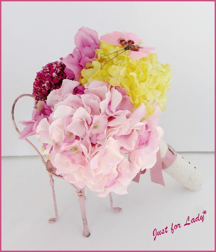 Bouquet de mariée - Fleurs tissu, Ruban et Dentelle - Rose, Jaune, Fuchsia - Mariage-Wedding : Accessoires de maison par el-tocado-de-lea