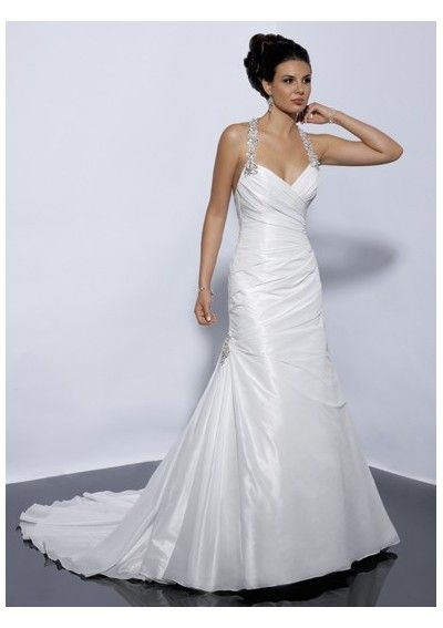 sweetheart pleated skirt a-line wedding dresses