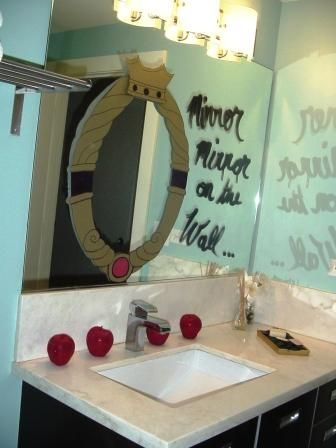 Mirror mirror on the wall... we like to decorate bathrooms for parties. Almost everyone ends up in there eventually, so why not carry the theme over?