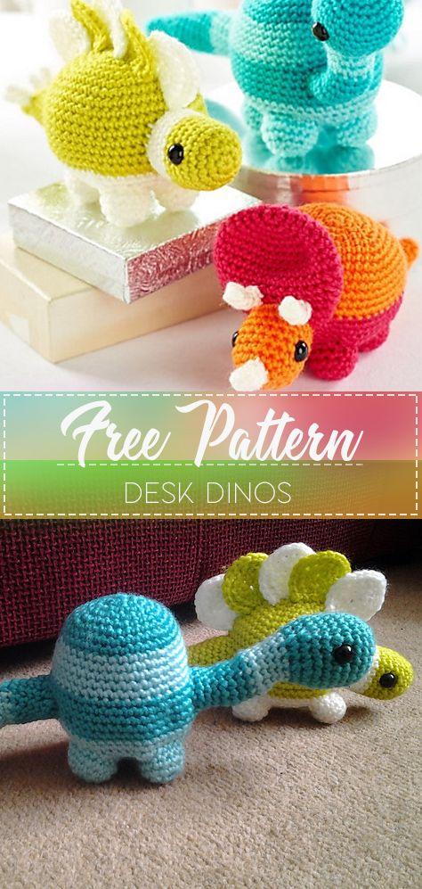 Desk dinos – Free Crochet Pattern – Crochet Love