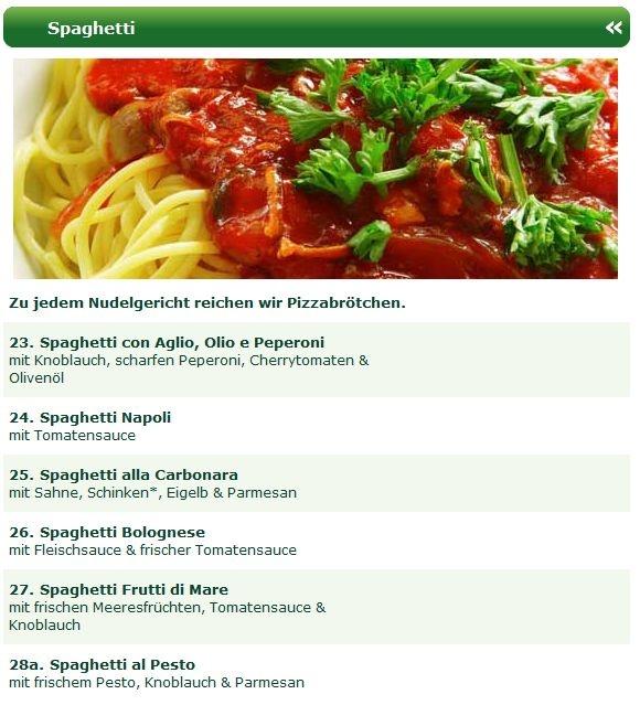 Beim Pizzeria Lieferservice Zur kleinen Oase Ennepetal gibt es nicht nur ausgezeichnete Steinofenpizza oder Schnitzel, sondern auch köstliche Nudelgerichte, wie z.B. die Spaghetti Spezialitäten. Probieren Sie z.B. die Spaghetti con Aglio, Olio & Peperoni, Spaghetti Napoli, Spaghetti alla Carbonara, Spaghetti Bolognese, Spaghetti Frutti di Mare oder Spaghetti al Pesto!
