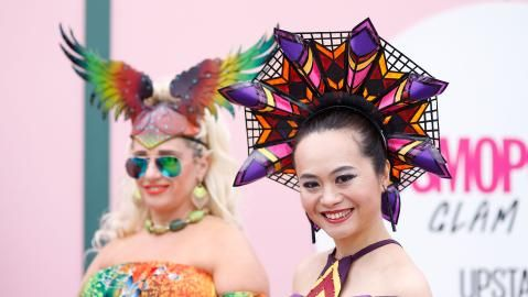 Colourful inspiration: Myer Fashions on the Field participants. Picture: Getty