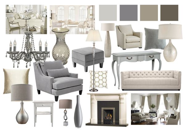 Grey and Beige Living Room Mood Boards by Amy Farrar, via Behance