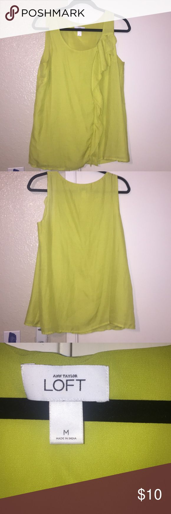 Ann Taylor loft sleeveless top size M Great top to wear to work with a cute jkt or on its own for a night out . Size M color is between a light green and yellow Ann Taylor Tops Camisoles