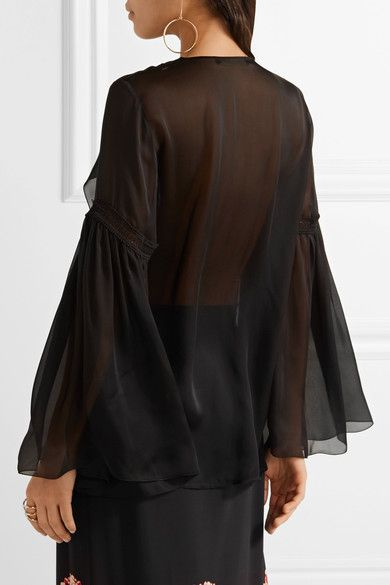 Roberto Cavalli - Crochet-trimmed Ruffled Silk-chiffon Shirt - Black - IT48