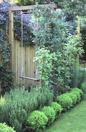 Great way to get a swing in the backyard without a tree or a swingset <3 No trampling the plants though ;)