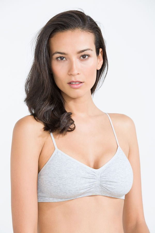 Multiway cotton bra, grey, hi-res