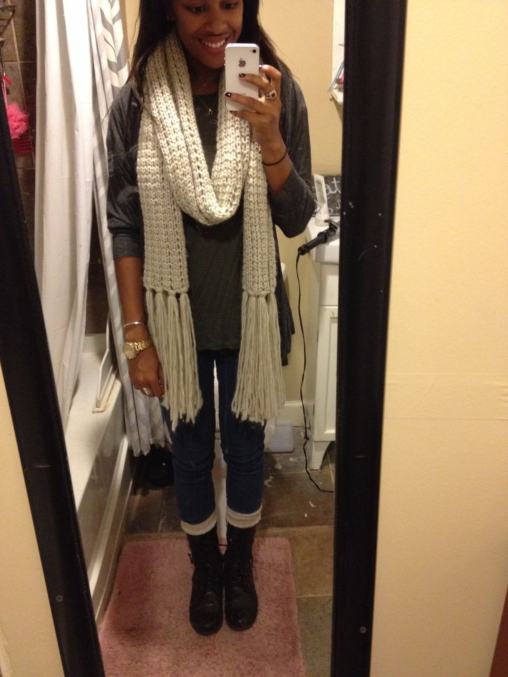 Typical fall outfit with chunky scarf